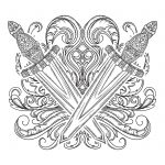 Medieval sword and decorative baroque ornament. Tattoo design. Victorian Motif. Vintage vector illustration.